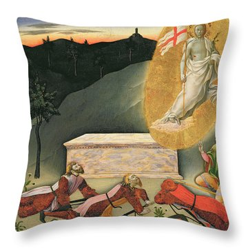 The Resurrection Throw Pillow by Master of the Osservanza
