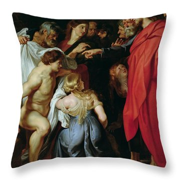 The Resurrection Of Lazarus Throw Pillow by Rubens