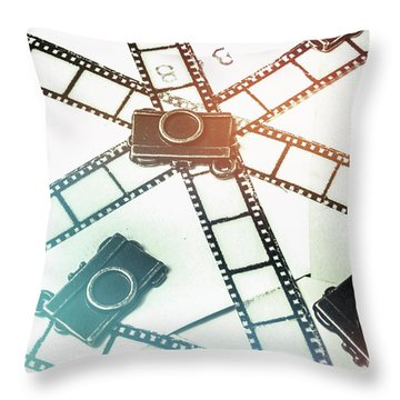 The Retro Camera Reel Throw Pillow