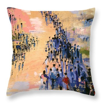 People Walking On Beach Throw Pillows