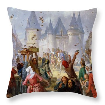 The Return Of Saint Louis Blanche Of Castille To Notre Dame Paris Throw Pillow by Pierre Charles Marquis