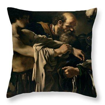 The Return Of The Prodigal Son Throw Pillow by Giovanni Francesco Barbieri