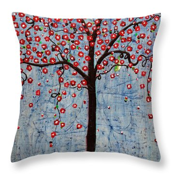 Throw Pillow featuring the painting The Rhythm Tree by Natalie Briney