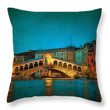 The Rialto Bridge Throw Pillow