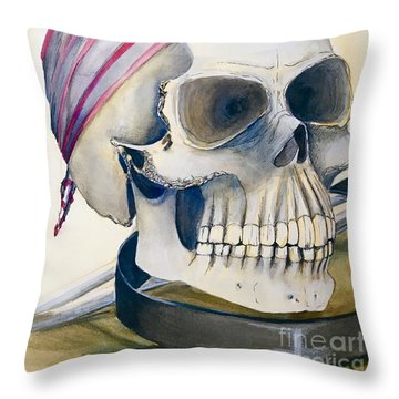 The Rider's Skull Throw Pillow