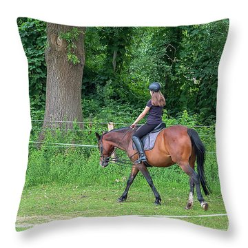 The Riding School In Suburb Throw Pillow