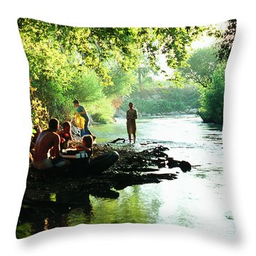 Throw Pillow featuring the photograph The River by Dubi Roman