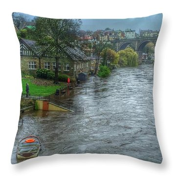 The River Nidd In Flood At Knaresborough Throw Pillow by RKAB Works