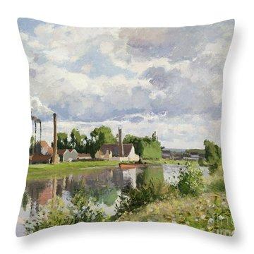 The River Oise Near Pontoise Throw Pillow by Camille Pissarro