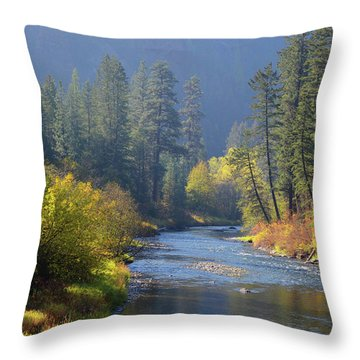 The River Runs Through Autumn Throw Pillow