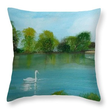 The River Thames At Shepperton Throw Pillow by Carole Robins
