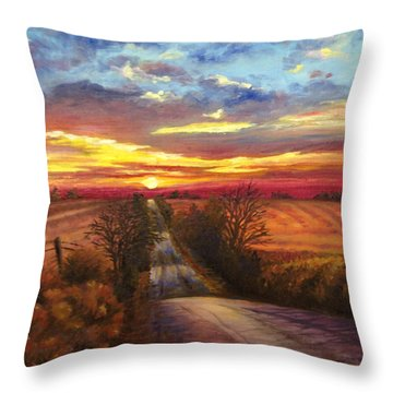 Throw Pillow featuring the painting The Road Home by Rod Seel