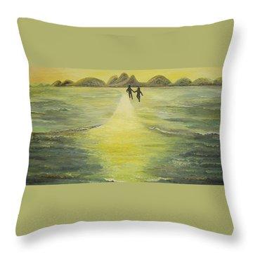 The Road In The Ocean Of Light Throw Pillow by Karina Ishkhanova
