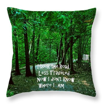 The Road Less Traveled Throw Pillow by Gary Wonning
