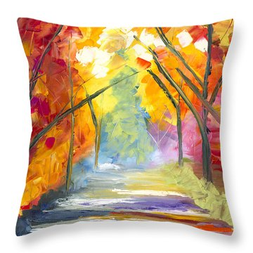The Road Less Traveled Throw Pillow by Jessilyn Park