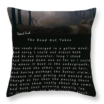 The Road Not Taken Poem By Robert Frost Throw Pillow