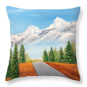 The Road To Lake Louise Throw Pillow