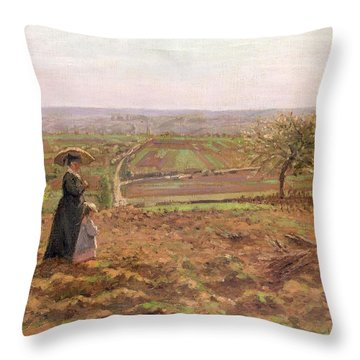 The Road To Rouen Throw Pillow by Camille Pissarro