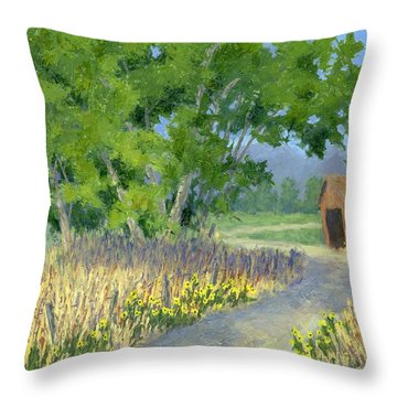 The Road To The Back Field Throw Pillow