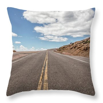 The Road Up Pikes Peak At Around 12,000 Feet Throw Pillow by Peter Ciro