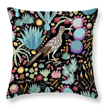The Roadrunner And The Lizard Throw Pillow by Darlene Seale