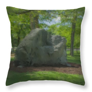 The Rock At Frothingham Park, Easton, Ma Throw Pillow