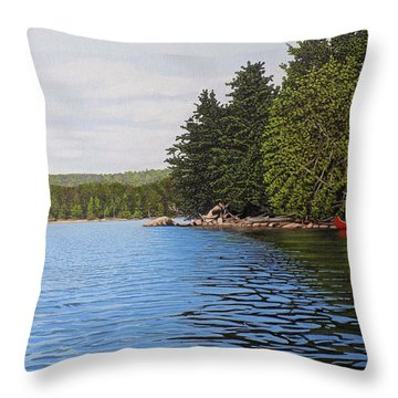 Throw Pillow featuring the painting The Rock At Goldstein's Moose Lake by Kenneth M Kirsch