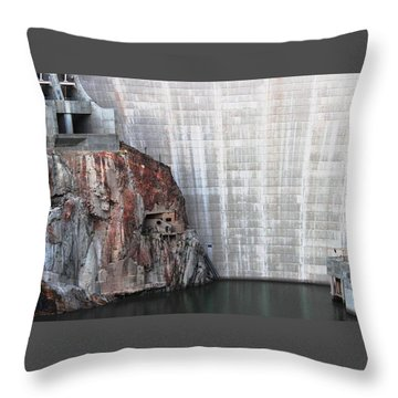 The Rock Behind The Dam Throw Pillow