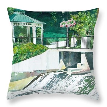 Throw Pillow featuring the painting The Rockford Dam by LeAnne Sowa