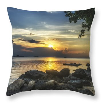 The Rocks At Dusk Throw Pillow by Michelle Meenawong