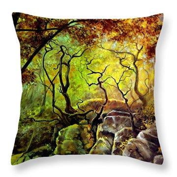 The Rocks In Starachowice Throw Pillow by Henryk Gorecki