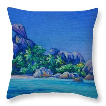 The Rocks On La Digue  Panoramic Throw Pillow by John Clark