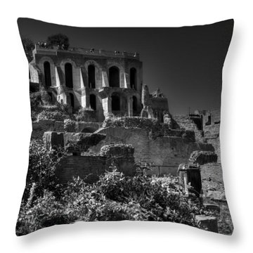 Throw Pillow featuring the photograph The Roman Forum 001 Bw by Lance Vaughn