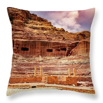 The Roman Theater At Petra Throw Pillow