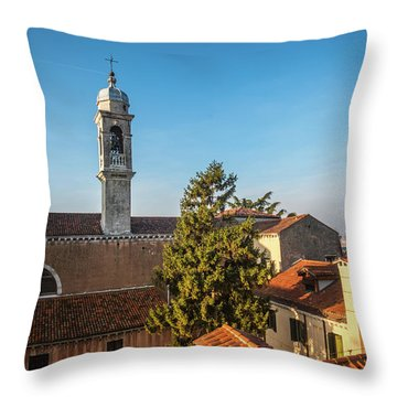 The Roofs Of Venice Throw Pillow