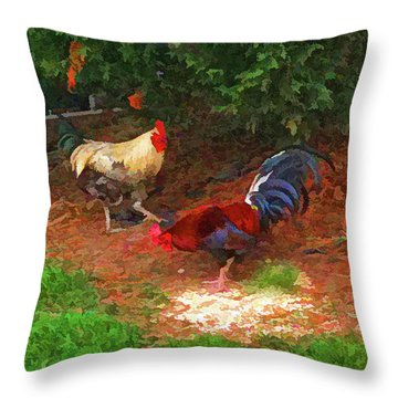The Rooster And The Hen Throw Pillow