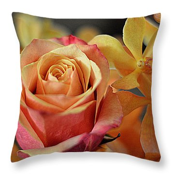 Throw Pillow featuring the photograph The Rose And The Orchid by Diana Mary Sharpton