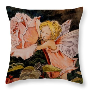 The Rose Fairy After Cicely Mary Barker Throw Pillow