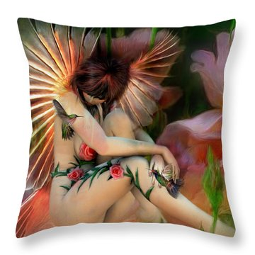 The Rose Fairy Throw Pillow