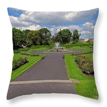 The Rose Garden Of Kilkenny Castle Throw Pillow by Cindy Murphy - NightVisions