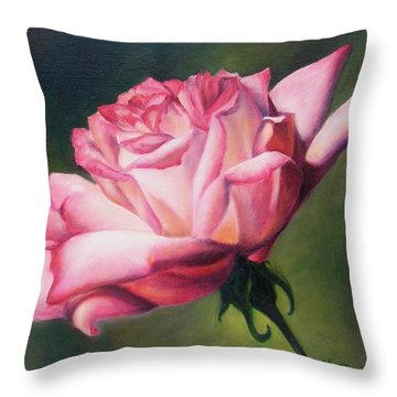 Throw Pillow featuring the painting The Rose by Lori Brackett