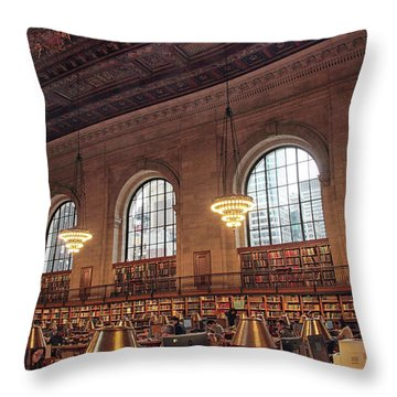Throw Pillow featuring the photograph The Rose Reading Room by Jessica Jenney