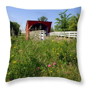 The Roseman Bridge In Madison County Iowa Throw Pillow