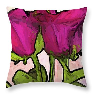 The Roses With The Green Stems And Leaves Throw Pillow