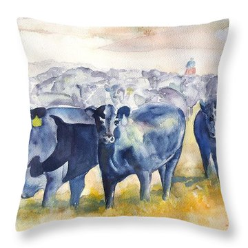 The Round Up Cattle Drive  Throw Pillow