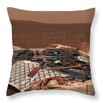 The Rovers Landing Site, The Columbia Throw Pillow by Stocktrek Images