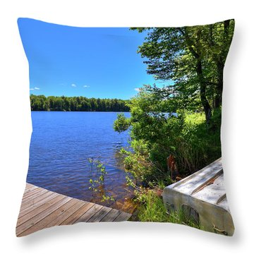Throw Pillow featuring the photograph The Rowboat On West Lake by David Patterson