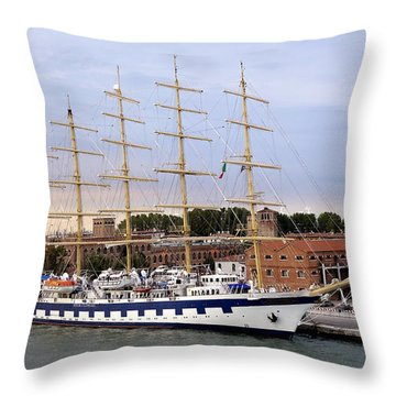 The Royal Clipper Docked In Venice Italy Throw Pillow