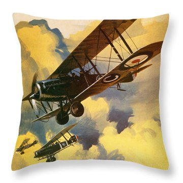 The Royal Flying Corps Throw Pillow by Wilf Hardy