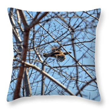 The Ruffed Grouse Flying Through Trees And Branches Throw Pillow by Asbed Iskedjian